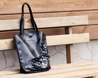 Black leather bag Black handbag Women leather top-handle bag Black leather tote Shopping bag Leather tote Leather shoulder bag Black tote