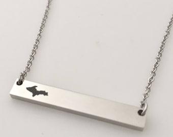 U.P. Engraved Bar pendant; Upper Michigan; Personalized; Upper Peninsula Jewlery; Custom Jewelry; (#MJ-P-23HBar)