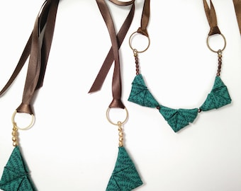 Petite ORIGAMI TRIANGLE NECKLACE - Green with Rosemary Plant Print and Bronze Glass Beads Ribbon Tie Necklace