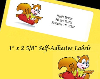 "Personalized Address Labels SQUIRREL Self-Adhesive 1"" x 2 5/8"" Laser"