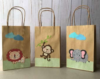 Safari themed favor bags, jungle animals favor bags, safari goodie bags, safrbaby shower favor bags, craft bags, party favor, set of six