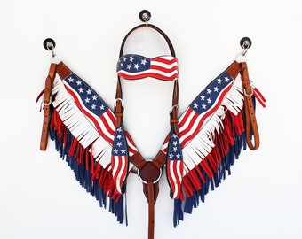USA Red White & Blue American Flag Barrel Racer Leather Headstall Western Horse Trail Bridle Breast Collar Plate Fringe Made To Order Set