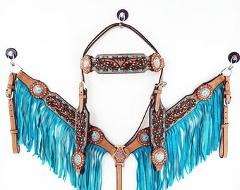 Handmade Western Barrel Trail Horse Metallic Turquoise Fringe Buck stitch Hand Tooled Leather Headstall Bridle Breast Collar Set