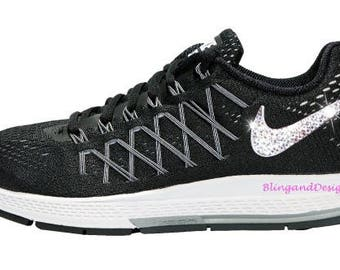 ... All Out Flyknit Bling Nike Air Zoom Pegasus 32 Black Shoe Customized  with Swarovski Crystals aa241249e