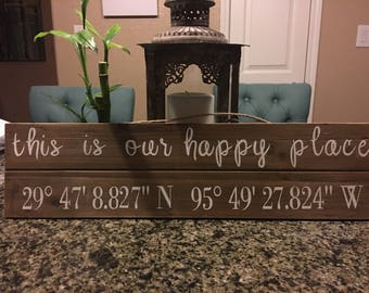 Coordinates wooden sign| coordinates sign| gps sign | home decor| personalized sign