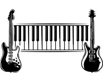 Guitar Logo #6 Electric Electrical Keyboard Piano Musical Instrument Rock Music Band .SVG .EPS .PNG Digital Clipart Vector Cricut Cutting