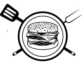 BBQ Logo #16 Grill Grilling Cheeseburger Barbecue Hamburger Cooking Cook Out Chef Food Restaurant .SVG .EPS Vector Cricut Cut Cutting File