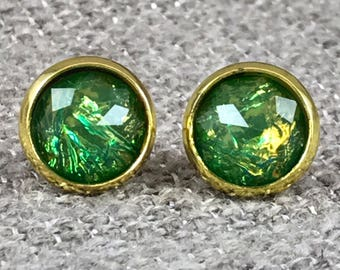 Green Fire Opal Earrings - Opal - Faux Opal - Stud Earrings - Green - Christmas Gift - Holiday Jewelry - Stocking Stuffer - Jewelry Gift -