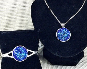 Blue Rainbow Druzy Jewelry Set - Druzy - Blue - Druzy Bracelet - Druzy Necklace - Blue Bracelet - Blue Necklace - Druzy Jewelry - Bridesmaid