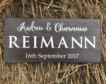 wedding gift, anniversary gift, custom name sign, established sign, hand painted sign, last name sign, wooden couple sign, name sign