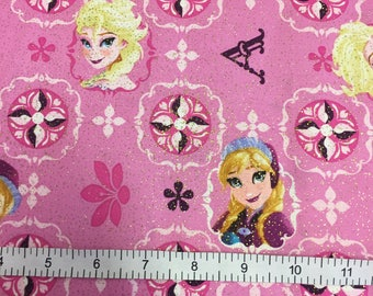 Disney's Frozen -Elsa and Anna Patch All Over on Glittered Pink Cotton Quilting Fabric