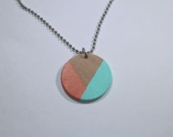 Coral & Mint Geometric Wood Necklace, Hand Painted Wooden Necklace, Wood Jewelry, Color Pop Jewelry, Pastel Necklace, Double Sided