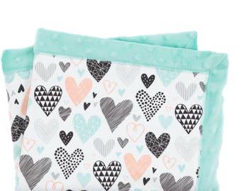 Minky Blanket Hearts (organic cotton)