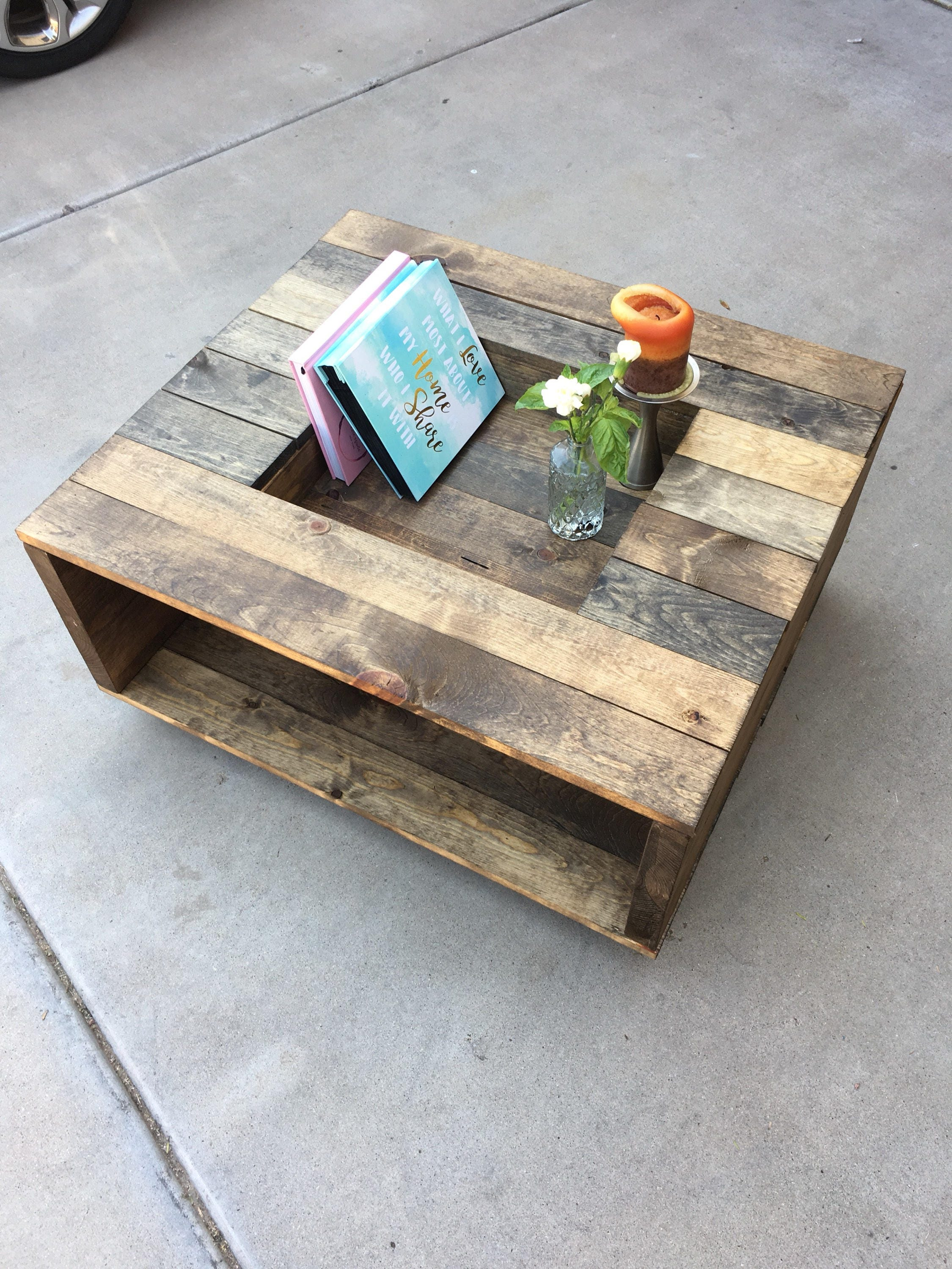 Open sided Rustic Wood Coffee Table with Antique Wheels and