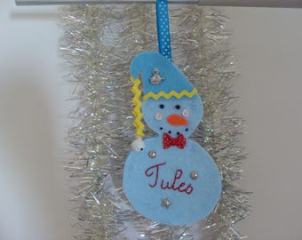 Personalized hanging snowman