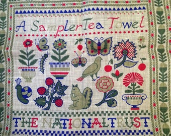 Vintage Irish Linen Tea Towel, designed by Pat Albeck for The National Trust, Inspired by The Samplers at Montacute House