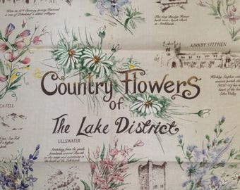 Vintage Cotton Tea Towel Country Flowers of The Lake District