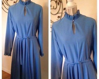Anniversary Sale Vintage Robin's Egg Blue Ruffle Dress
