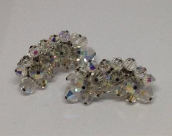 Anniversary Sale Vintage Kidney Shaped Aurora Borealis Clip Earrings