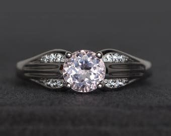 engagement ring natural pink morganite ring round cut pink gemstone sterling silver ring