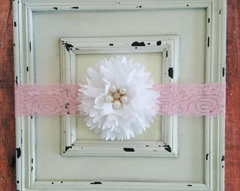 White and Pink Headband-Baby Headbands-Newborn Headbands-Baby Girl Headbands-Infant Headbands-Hair Accessories-Baby Accessories