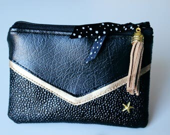 Wallet / card victory leatherette black and gold