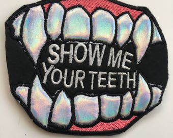 Holographic Hologram horror teeth Iron On Embroidered Patch