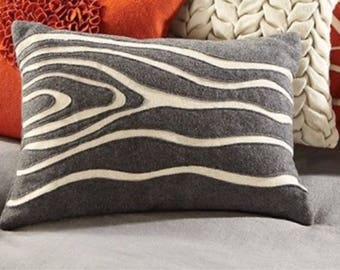 """Wood Grain Pattern Gray and White  12""""x18"""" Pillow Cover"""