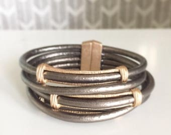 20% OFF SALE Multistrand bronze metallic genuine leather bracelet with magnetic clasp