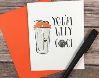 protein shaker bottle printable card - funny card- fitness card - birthday card - lifting card -diy card - digital card - hello card