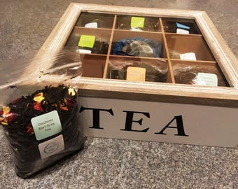 Favourites Tea Gift Box - a selection of luxury loose leaf tea blends in a wooden tea display box