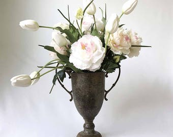 Silk Flower Arrangement, White Peonies, White Tulips, Permanent Botanicals, Wedding Centerpiece, blush pink flowers, trophy cup, Frittilaria