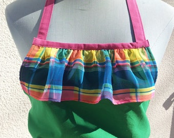Lawn apron has bib spring green and Pink Plaid ruffles has multi color two pockets