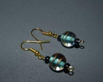 Glass pearls & gold earrings