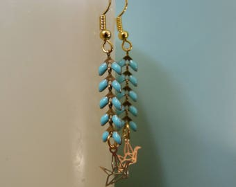 Earrings enameled ear chain & origami