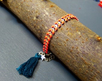 Silver chain spike enameled coral tassel bracelet