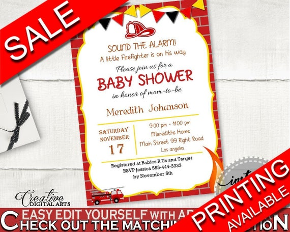 Invitation Baby Shower Invitation Fireman Baby Shower Invitation Red