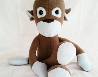 Plush monkey,fleece monkey, brown and blue monkey, stuffed monkey,monkey teddy,monkey bear, stuffed monkey, vintage monkey, no sock monkey,