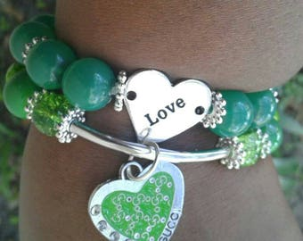 Green and Silver Reversible Charm Stacked Bracelets, Women's Jewelry, Beaded bracelets,  Stretch Bracelets, Women's bracelets, Arm Candy