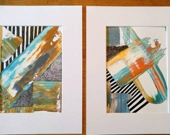 Abstract Painting Original Set of Two Metallic Textured Acrylic and Freehand Geometric Wall Art Painting Set 8 x 10