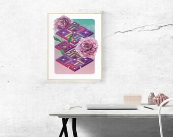 Isobotanical: Peony art print (signed)
