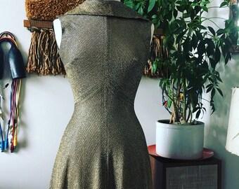 1960s Golden Stripe Evening Gown