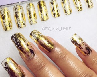 Gold or Silver Leaf Press On Nails