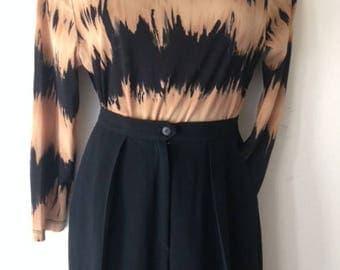Jones New York High Waist Pleated lined Slacks Black Petite S/M