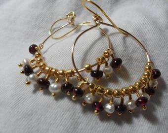 Garnet and Pearl Hoop earrings