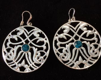 Pilgrim - Large silver and blue filigree earrings