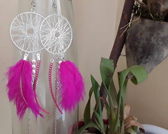 Earring dream catcher pink feather and Angel