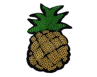 Patch/ironing-pineapple fruit with sequins-gold-8.3 x 4.8 cm-by catch-the-Patch ® patch appliqué applications for ironing application patches patch