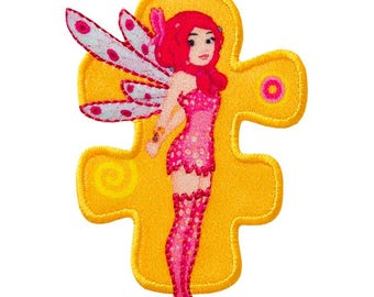 Patch / patch - MIA and me MIA comic kids fairy - pink/yellow - 5, 9 x 4, 4 cm - patch application applications to the iron application patches patch