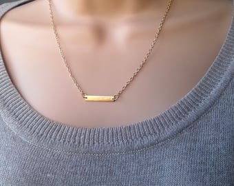Gold Bar Necklace | gold necklace | layering necklace | bar necklace gold | minimalist necklace | horizontal bar | bridesmaid necklace